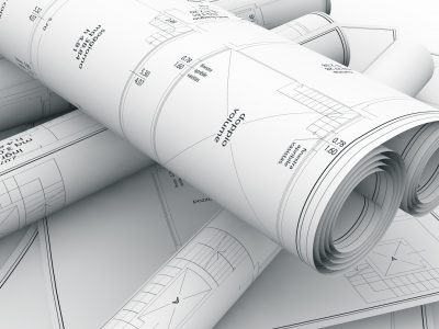 close up of construction plans, 3d illustration
